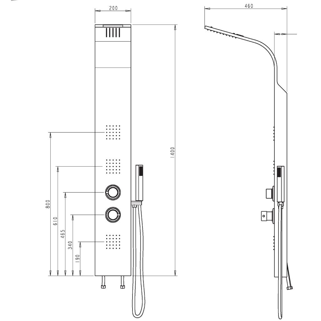 Colonna doccia multifunzione acciaio lucido 1350902 Delò ...